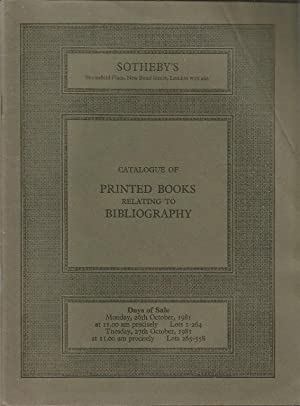 Sotheby catalogue. Printed Books relating to Bibliography, Collecting and the History of Printing