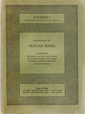 Sotheby catalogue. Catalogue of Printed Books comprising the property of the Hon. Colin Tennant, ...