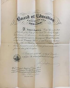 1894 Teaching License: JASPER, John; NEW