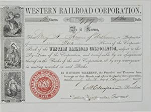 Western Railroad Corporation: Stock certificate No. 19,909