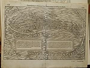Pianta prospettica della città e delle lagune: Munster Sebastiano; C.