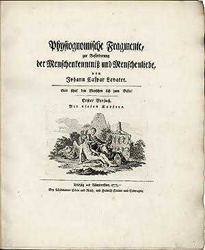 Physiognomische Fragmente zur Beförderung der Menschenkenntniß und: Lavater, Johann Caspar.
