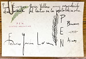 Manuscript salutations card in P.E.N. club Argentina: Federico Garcia Lorca