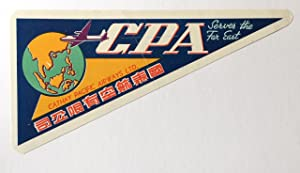 Original Vintage Luggage Label - Cathay Pacific Airways - CPA Serves the Far East