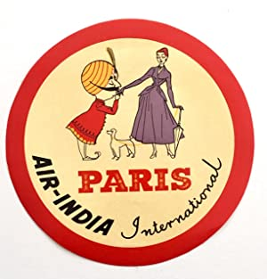 Original Vintage Luggage Label - Air India Paris