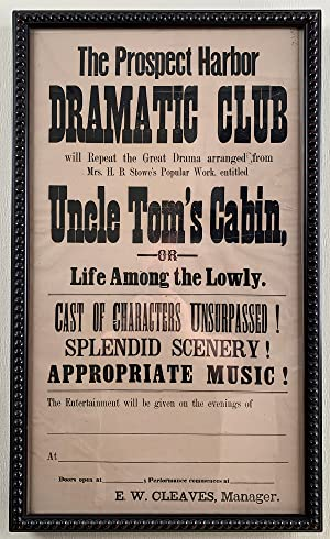 Uncle Tom?s Cabin Advertised by Local Maine Drama Club