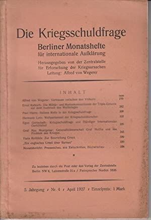 Berliner Monatshefte. Die Kriegsschuldfrage. 5. Jahrgang /: Zentralstelle für Erforschung