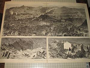 "1874 HW Engraving of ""The Pittsburg Flood"": Theo. R. Davis"