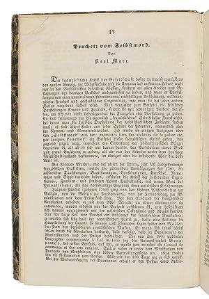 Peuchet: vom Selbstmord. (In:) [Hess, Moses]. Gesellschaftsspiegel.: Marx, Karl].