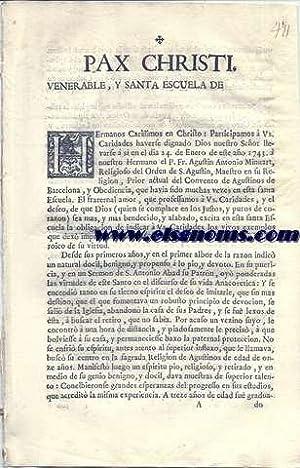 Pax Christi. Venerable, y Santa Escuela de: PAX CHRISTI.