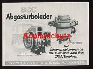Bild des Verkäufers für Werbeanzeige: BBC Abgasturbolader - 1941. zum Verkauf von Antiquariat Ralf Rindle