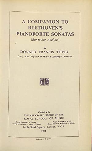 A Companion to Beethoven's Pianoforte Sonatas (Bar-to-Bar: Donald Francis Tovey