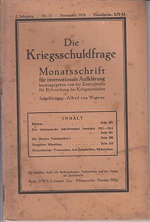 Die Kriegsschuldfrage. Berliner Monatsheft. 2. Jahrgang, Nr.
