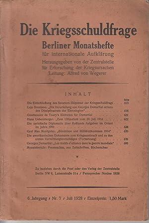 Die Kriegsschuldfrage. Berliner Monatsheft. 6. Jahrgang, Nr.