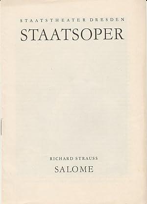 Programmheft Richard Strauss SALOME 20. Juni 1964: Staatsoper Dresden Gerd