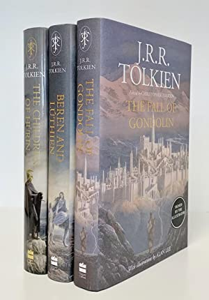 Bild des Verkäufers für Set of 3 Books: THE CHILDREN OF HURIN, BEREN AND LUTHIEN & THE FALL OF GONDOLIN. - Signed by the illustrator Alan Lee. First editions, first printings. PLUS: 3 Bookmarks including a Signed one. zum Verkauf von Anderida Books