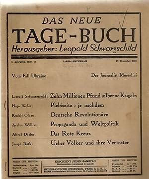 Das neue Tage-Buch. 6. Jahrgang, Heft 51.: Schwarzschild, Leopold (Hg.):