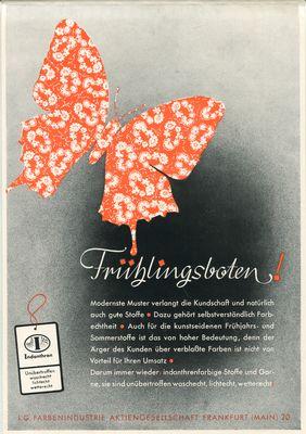 Werbeanzeige: IG Farbenindustrie: Indanthren.: I. G. Farbenindustrie
