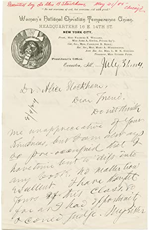 [AUTOGRAPH LETTER, SIGNED, FROM FRANCES WILLARD TO DR. ALICE B. STOCKHAM, REGARDING STOCKHAM'S NE...