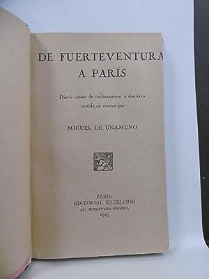 DE FUERTEVENTURA A PARIS. Diario íntimo de: UNAMUNO, MIGUEL DE.