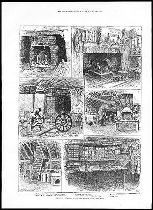 1885 VIEWS SURREY & KENT ALDINGTON Walnut