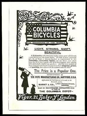 1896 Antique Print - ADVERTISING Columbia Bicycles