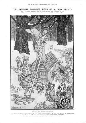 Bild des Verkäufers für 1906 FINE ART Antique Print - Arthur Rackham Peter Pan Gossamer Maimie (458) zum Verkauf von Antique Paper Company
