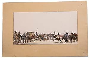 Watercolour of Russian and British prisoners-of-war in: LANGENDIJK, Jan Anthonie].
