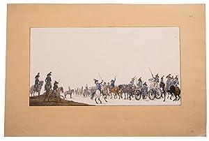 Watercolour of a train of the Batavian: LANGENDIJK, Jan Anthonie].