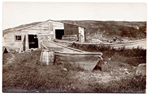 Monhegan Island Postcard: Fishing dories and shed