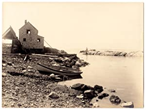 Silver print photo of Monhegan Island, Maine fish house and boats at harbor