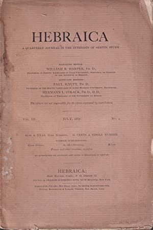 Hebraica. - A Quarterly Journal in the: Henry Preserved Smith,