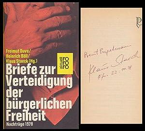Bild des Verkäufers für Briefe zur Verteidigung der bürgerlichen Freiheit. [Signiertes Exemplar.] zum Verkauf von Antiquariat Lenzen