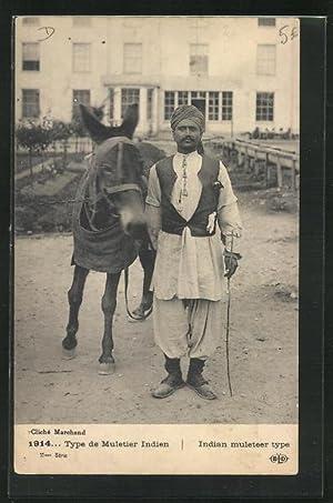 Postcard Indien, Type de Muletier Indien 1914,