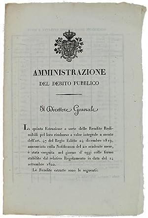 Immagine del venditore per AMMINISTRAZIONE DEL DEBITO PUBBLICO. Torino, 30 settembre 1824.: venduto da Bergoglio Libri d'Epoca