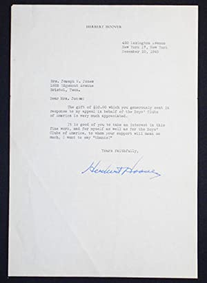1 typed letter, signed by President Herbert Hoover, on his personal stationery