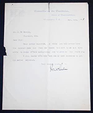 Typed letter signed by Congressman Joseph Wheeler (Fighting Joe Wheeler)