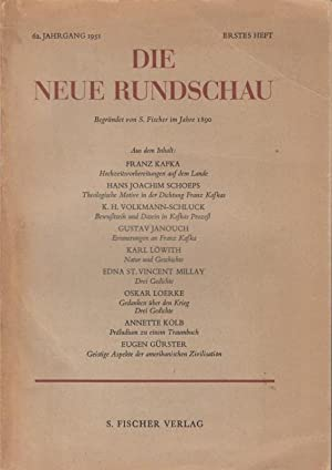 Hochzeitsvorbereitungen auf dem Lande. In: Die Neue: Kafka, Franz. -