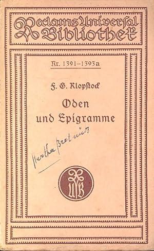 Oden und Epigramme ;.: Klopstock, Friedrich Gottlieb,