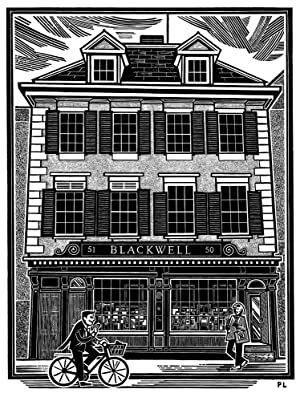 Wood-engraving of Blackwell's Bookshop, Oxford.