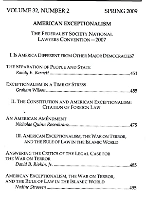 American Exceptionalism. In Harvard Journal of Law: Edited by Christopher