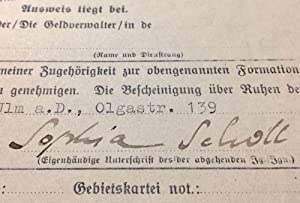 Sophie Scholl's Signed Membership Suspension Request From the Bund Deutscher Mädel