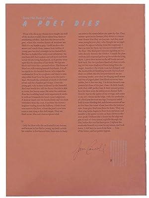 A Poet Dies (Signed Broadside): CARROLL, Jim