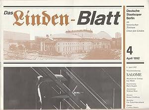 DAS LINDEN-BLATT 4 April 1992: Deutsche Staatsoper Berlin
