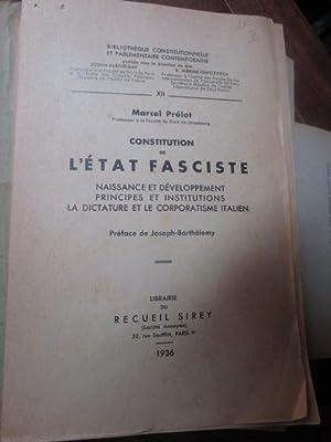 L'empire fasciste les origines les tendances et: PRELOT Marcel