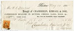 1865 Boston Billhead: Chamberlin, Kimball & Doe - Commission Dealers in Butter, Cheese, Lard, Egg...