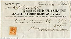 1864 Boston Billhead: Whitcher & Stratton - Dealers in Flour, Grain, and Meal
