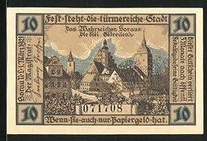 Notgeld Sorau 1921, 10 Pfennig, Stadtwappen und