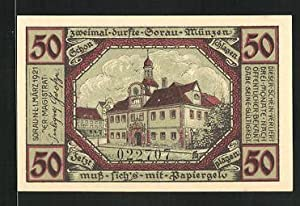Notgeld Sorau 1921, 50 Pfennig, Stadtwappen und