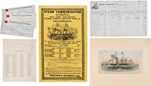 [STEAMSHIP MANUSCRIPT MANIFEST, LARGE ENGRAVED ADVERTISING BROADSIDE, AND SUPPORTING DOCUMENTS RE...